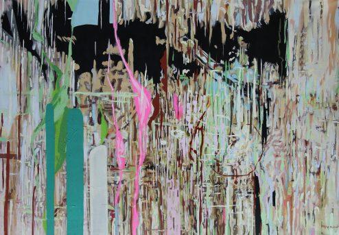Abstract Composition 2, kağıt üzerine akrilik, 2018.